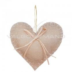 Coeur et raphia à suspendre - pièce en stock