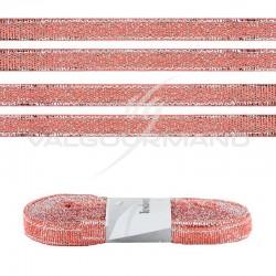 Ruban aspect ROSE GOLD métallisé - le sachet de 10 mètres