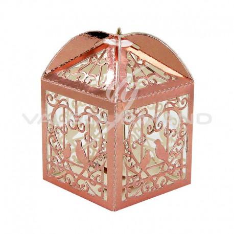 Boîtes dentelle ROSE GOLD métallisé - 10 pièces