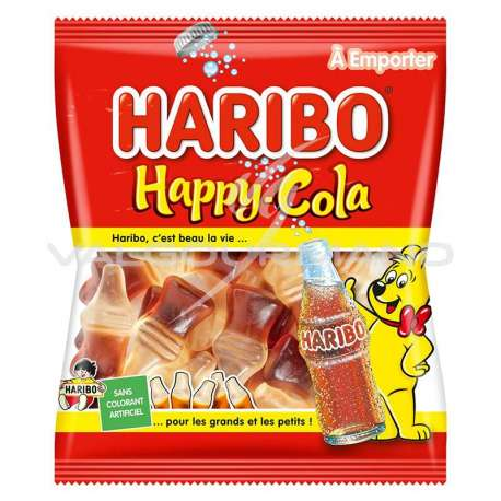 Bouteilles Happy cola lisses HARIBO 120g - 30 sachets (0.99€ le sachet !)