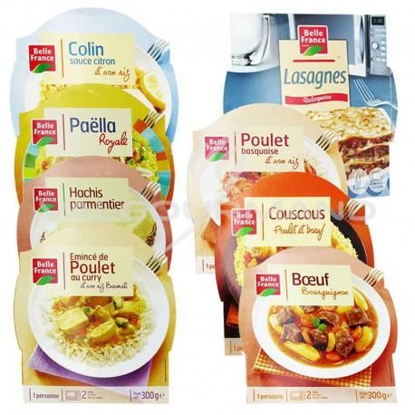 Barquettes plats cuisinés assortis 300g Belle France - lot de 8 plats cuisinés assortis