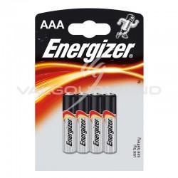 Piles Energizer LR03 blister de 4 - le lot de 12 (soit 2.40€ le blister de 4 piles !) en stock