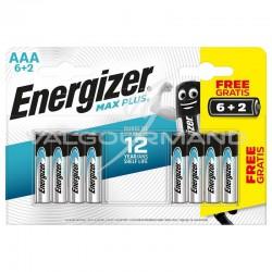 Piles Energizer alcaline AAA Max Plus LR03 en blister de 6+2 offertes - le lot de 12 blister en stock