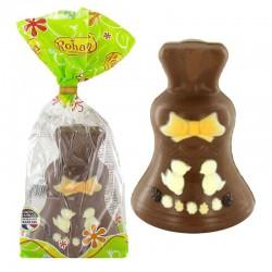 Cloche en chocolat au lait décoré - 125g en stock
