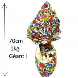 Oeuf maxi en chocolat au lait - 1kg - 70cm en stock