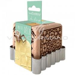 Tampons biscuits cube 5 décors et découpoir Scrapcooking en stock