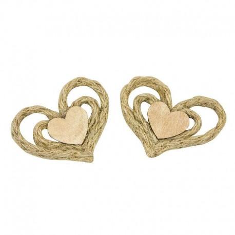 Coeurs en bois et ficelle autocollants - 4 pièces