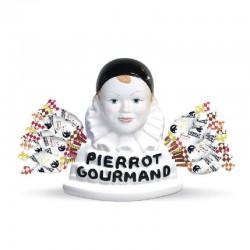 Buste Pierrot Gourmand et 40 sucettes assorties (baton bois) - le coffret en stock