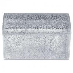 Boîte coffre pailleté ARGENT - pièce en stock