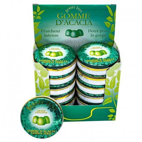 Gommes vertes menthe eucalyptus 32g - les 12 boîtes (soit 1.45€ pièce !)
