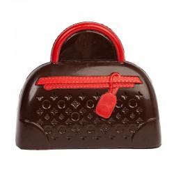 Coffret sac à main en chocolat noir décoré - 145g en stock