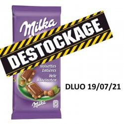 Chocolat lait et noisettes Milka 100g - Déstockage DDM 07/21 en stock