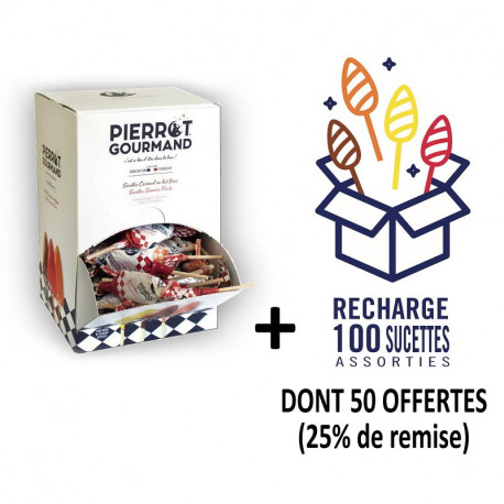 Colis 200 sucettes Pierrot Gourmand assorties fruits dont 50 offertes
