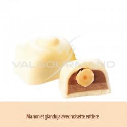 Chocolats blanc gianduja et noisette entière - boîte de 1.100kg en stock