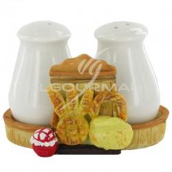 Ensemble salière et poivrier décor pain - le duo