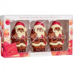 Santa pères Noël en chocolat au lait - boîte de 3 assortis - 165g
