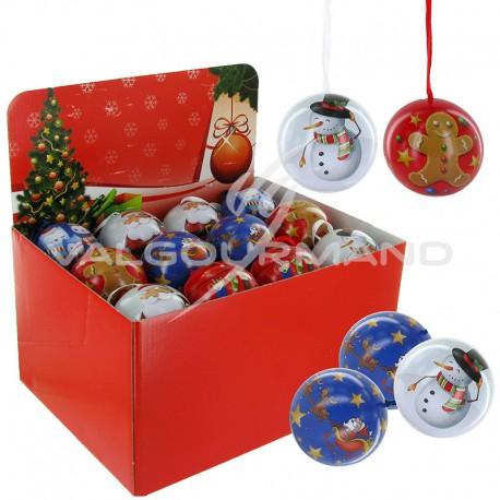 Boule de Noël garnie pièces en chocolat 36g - 24 boules