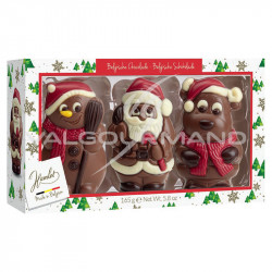 Figurines de Noël en chocolat au lait - boîte de 3 assorties - 165g