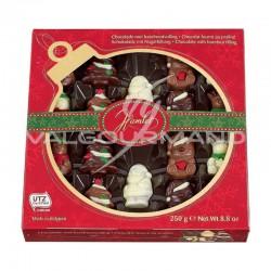 Figurines colorées en chocolat praliné - boîte Boule de Noël 250g