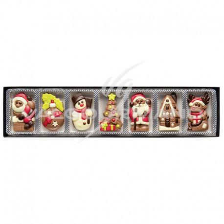 Carrés de chocolat décorés NOEL - réglette de 70g