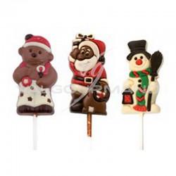 Sucettes de Noël en chocolat décoré 35g - boîte de 36 en stock