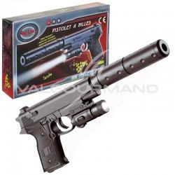 Pistolet à billes 18cm, torche, silencieux et billes inclus