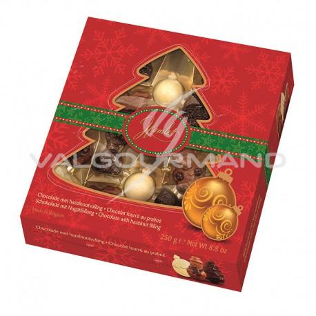 Assortiment de figurines de Noël en chocolat praliné - boîte sapin de 250g