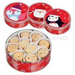 Boîte ronde en métal garnie de 400g de biscuits en stock