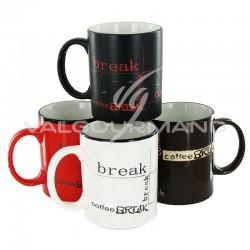 Mugs Coffee break - 4 modèles assortis en stock