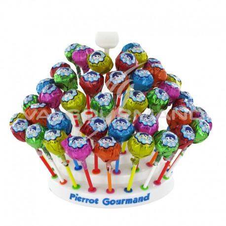 Sucettes boule aux fruits et cola Pierrot Gourmand - Les 150 + 1 présentoir OFFERT