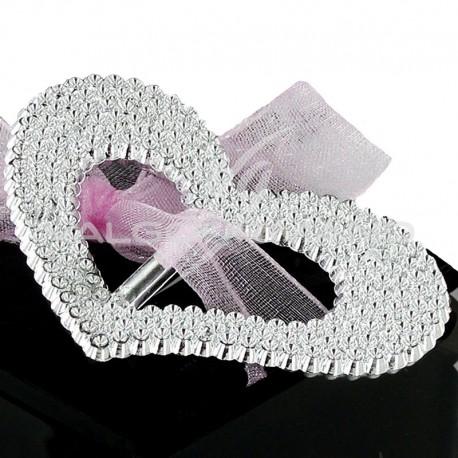Boucles Coeur strass Argent - 10 pièces