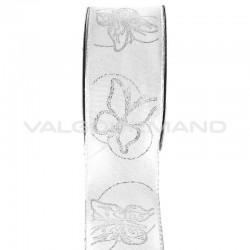 Ruban blanc Papillon argenté - le mètre