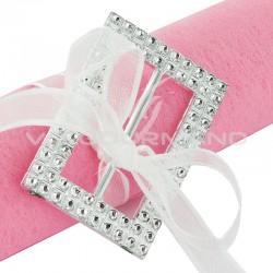 Boucles Rectangle strass Argent - 5 pièces