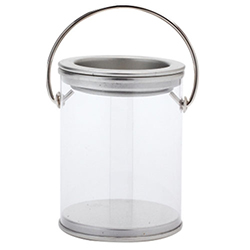Boîte transparente avec couvercle zinc et anse - pièce