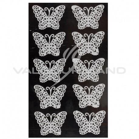 Papillons Dentelle autocollants BLANC - 10 pièces