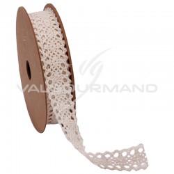 Ruban dentelle en coton ECRU - la bobine