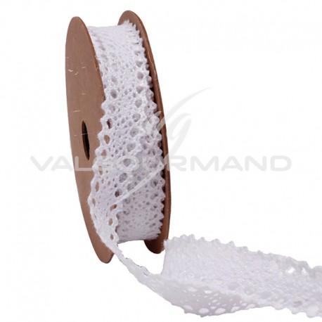 Ruban dentelle en coton BLANC - la bobine