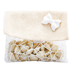Pochettes en jute et filet blanc - 5 pièces