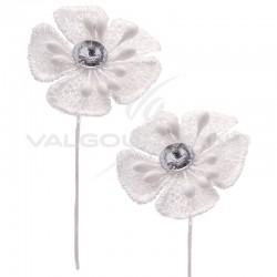 Fleurs Dentelle blanche et strass - 12 pièces