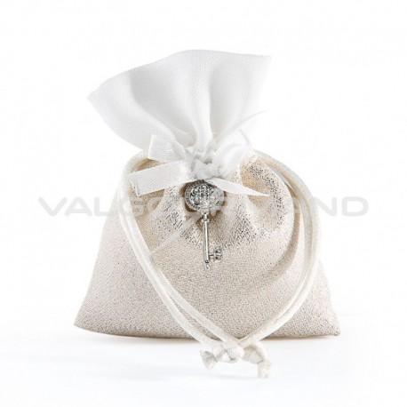 Pochon en tissu OR Nacré , noeud et clef - pièce (déco comprise !)