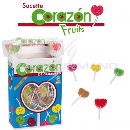 Sucettes Coeurs fruits - Les 200