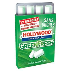 Hollywood dragées Green Fresh SANS SUCRES - 14 étuis en stock