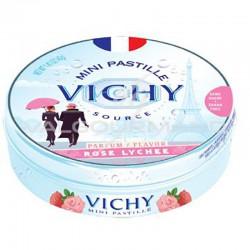 Pastilles de Vichy rose litchi 40g - 10 boîtes métal
