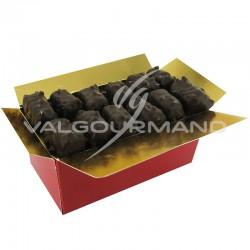 Malakoffs chocolat noir et pâte d amandes à la pistache - ballotin 250g en stock