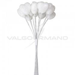 Bouquet de 12 coeurs pailletés BLANC - le bouquet