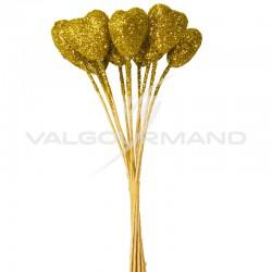 Bouquet de 12 coeurs pailletés OR - le bouquet