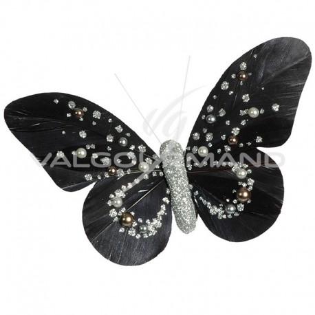 Papillons Perle sur pince NOIR - 2 pièces