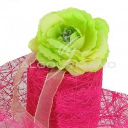 Roses en tissu sur ruban organdi VERT - 4 pièces