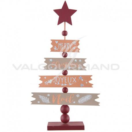 Sapin de Noël en bois CUIVRE et OR - pièce