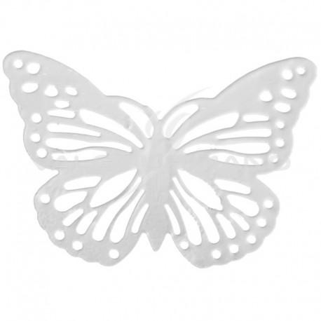 Papillons en métal blanc - 6 pièces